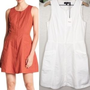 Theory Dresses - Theory Bonza Rotuma sleeveless linen fit and flare